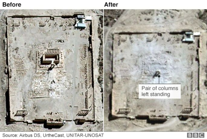 Temple of Bel before and After Palmyra, Syria